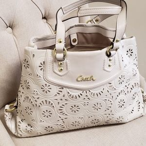 Coach Ivory Ash Lace Detail Tote